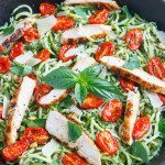 Pesto Zucchini Noodles with Roasted Tomatoes and Grilled Chicken 800 3602