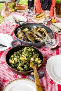 Mediterranean lunch outdoors