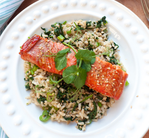 Maple-Marinated Salmon with Sesame-Spinach Rice