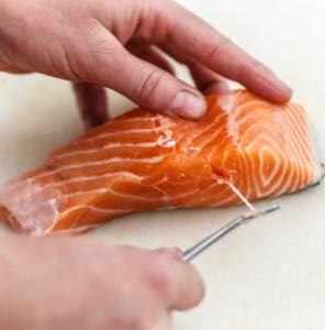 Remove salmon bones