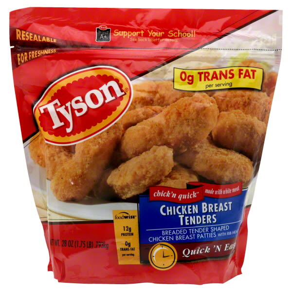 breaded chicken and frozen foods high in fat