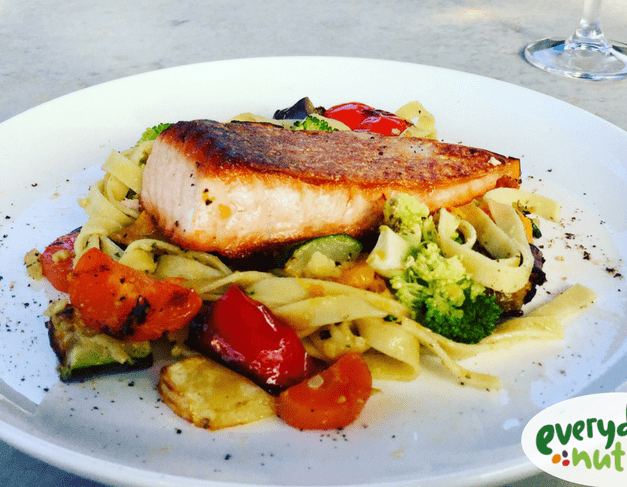 Fettucine with Salmon and Vegetables