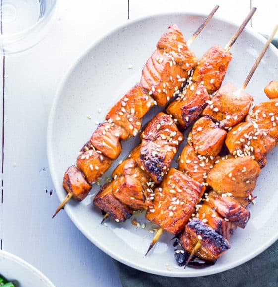 Sweet and Sticky Salmon Skewers