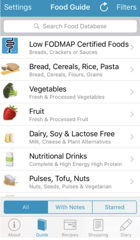 Monash FODMAP app search function