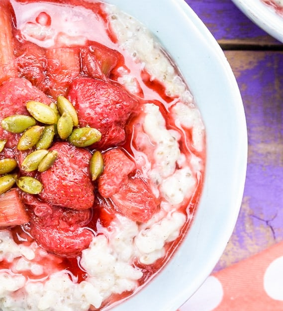 Coconut creamed rice with stewed rhubarb and strawberries