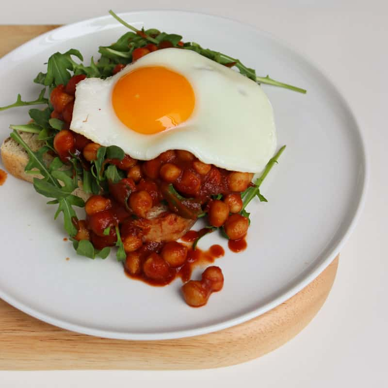 Low FODMAP Baked Beans On Toast With Egg & Rocket