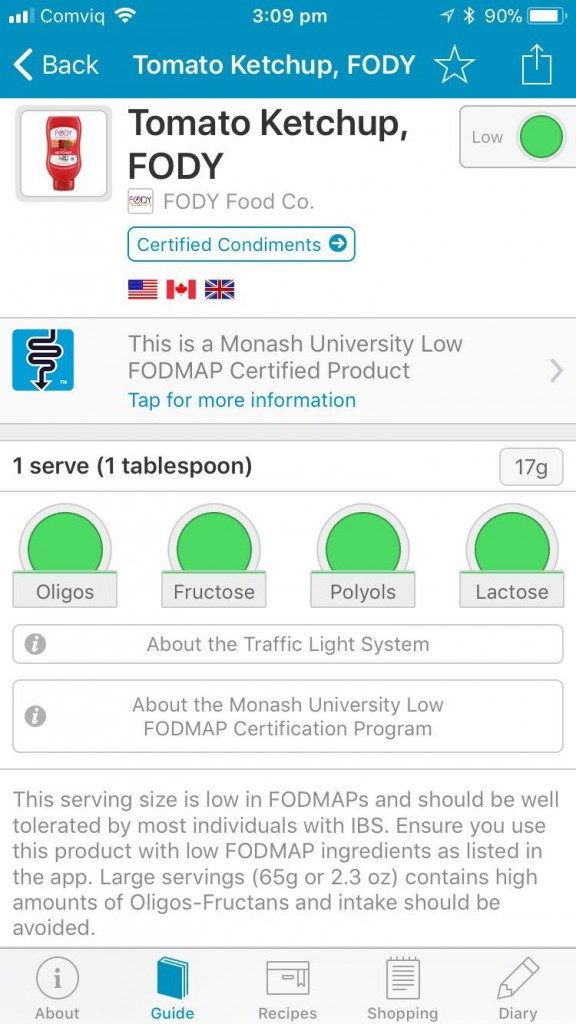 Monash FODMAP app certified products FODY