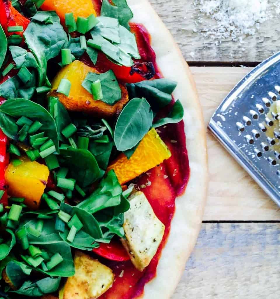 Pumpkin, capsicum, sweet potato and spinach pizza