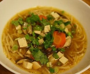 Soba noodle bowl with tofu and cilantro