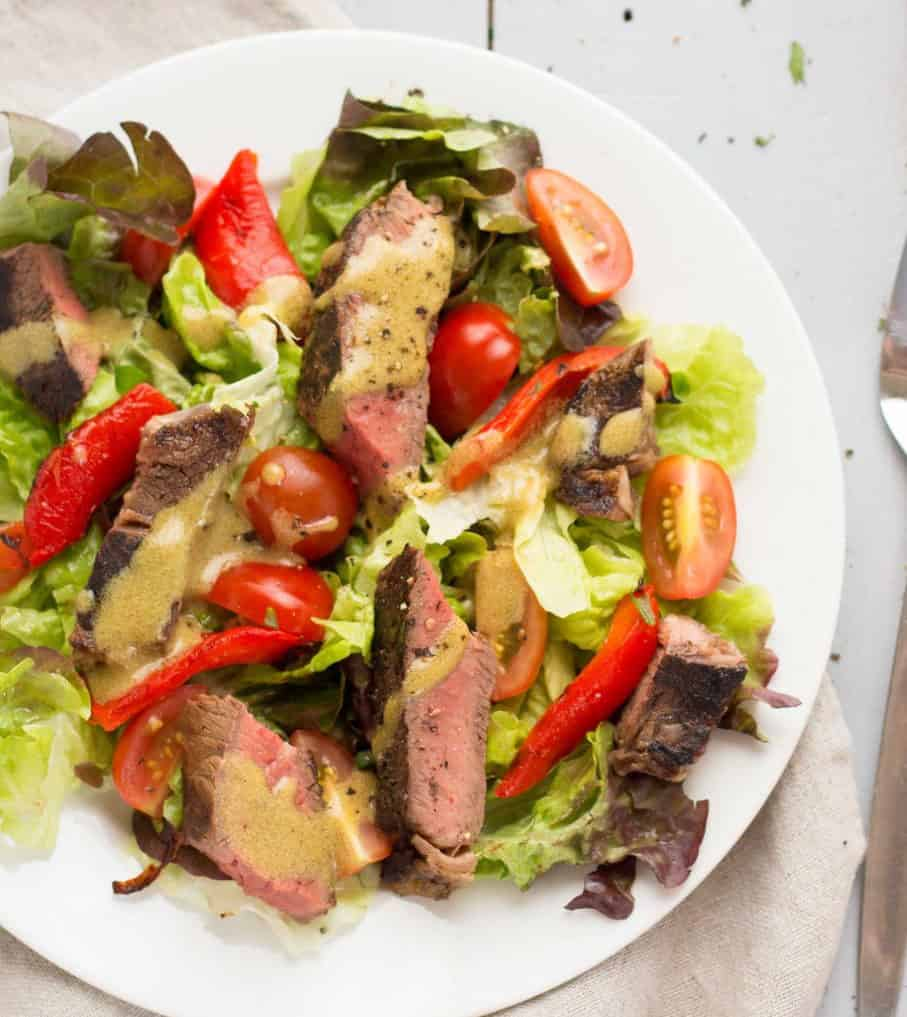 Summer beef salad with mustard vinaigrette