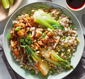 Chicken, Mushroom, and Bok Choy Bowls